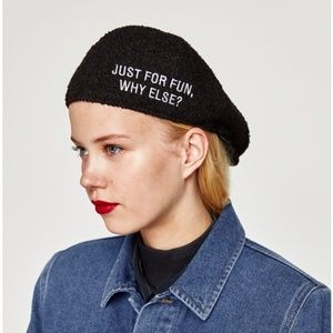 NWT Zara Newsboy Hat Just For Fun, Why Else? S/M